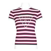 Oblečenie Ženy Tričká s krátkym rukávom Guess GERALDE TURTLE NECK Čierna / Biela