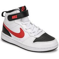 Topánky Chlapci Nízke tenisky Nike NIKE COURT BOROUGH MID 2 Biela / Červená / Čierna