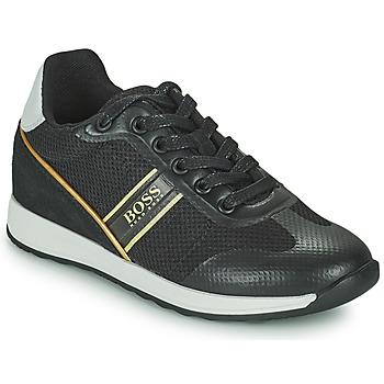 Topánky Chlapci Nízke tenisky BOSS TRAMMI Čierna / Zlatá