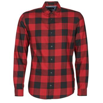 Oblečenie Muži Košele s dlhým rukávom Jack & Jones JJEGINGHAM Červená / Čierna