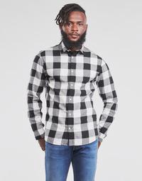 Oblečenie Muži Košele s dlhým rukávom Jack & Jones JJEGINGHAM Biela / Čierna