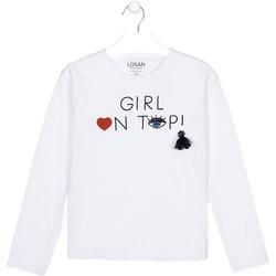 Oblečenie Deti Tričká s dlhým rukávom Losan 024-1021AL Biely