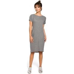 Oblečenie Ženy Šaty Be B050 Midi šaty s vreckami vo šve - sivé