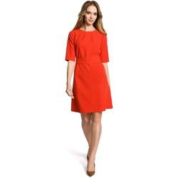 Oblečenie Ženy Krátke šaty Moe M362 Jednoduché šaty v tvare á s opaskom - červené