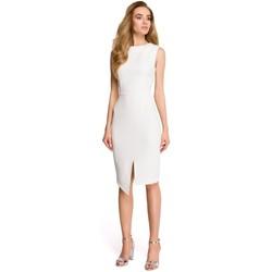 Oblečenie Ženy Krátke šaty Style S105 Šaty bez rukávov s umelým obalom - ecru