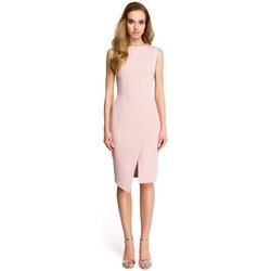 Oblečenie Ženy Krátke šaty Style S105 Šaty bez rukávov s umelým obalom - púdrové