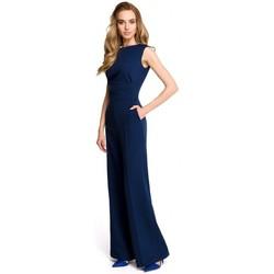 Oblečenie Ženy Módne overaly Style S115 Kombinéza so širokými nohavicami - tmavomodrá