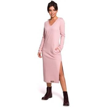 Oblečenie Ženy Dlhé šaty Be B128 Maxi šaty s kapucňou - púdrové