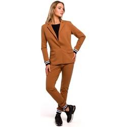 Oblečenie Ženy Oblekové saká Moe M459 Sako s prúžkovanými rebrovanými manžetami - karamelové