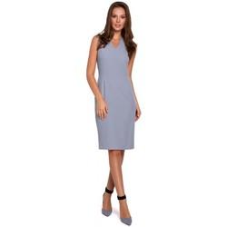 Oblečenie Ženy Krátke šaty Makover K004 Šaty v tvare ceruzky s výstrihom do V - lila