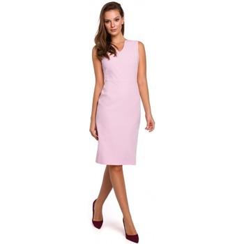 Oblečenie Ženy Krátke šaty Makover K004 Šaty v tvare ceruzky s výstrihom do V - červené