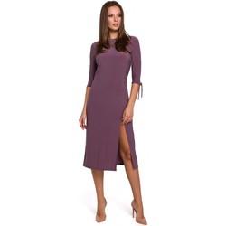 Oblečenie Ženy Krátke šaty Makover K007 Pletené šaty s viazanými rukávmi - vres