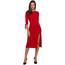 Oblečenie Ženy Krátke šaty Makover K007 Pletené šaty s viazanými rukávmi - červené