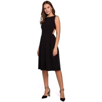 Oblečenie Ženy Šaty Makover K011 Roztiahnuté šaty s otvoreným chrbtom - čierne