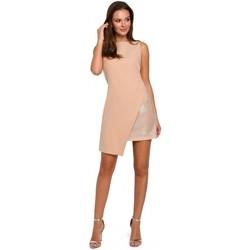 Oblečenie Ženy Krátke šaty Makover K014 Mini šaty s asymetrickým lemom - béžové