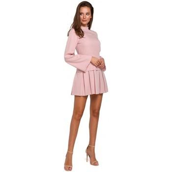 Oblečenie Ženy Krátke šaty Makover K021 Mini šaty s vypasovaným spodným okrajom - krepová ružová