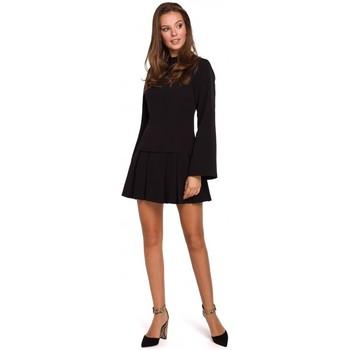 Oblečenie Ženy Krátke šaty Makover K021 Mini šaty s vypasovaným spodným lemom - čierne