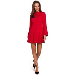 Oblečenie Ženy Krátke šaty Makover K021 Mini šaty so skladaným spodným lemom - červené