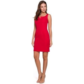 Oblečenie Ženy Krátke šaty Makover K022 Mini šaty so štvorcovým výstrihom - červené