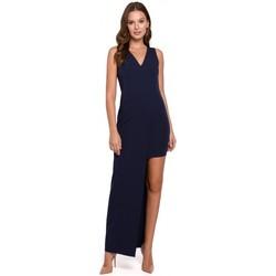 Oblečenie Ženy Dlhé šaty Makover K026 Dlhé asymetrické šaty - tmavomodré