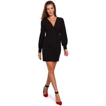 Oblečenie Ženy Krátke šaty Makover K027 Mini šaty s puzdrovými rukávmi - čierne