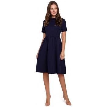 Oblečenie Ženy Krátke šaty Makover K028 Šaty so zrolovaným výstrihom - tmavomodré