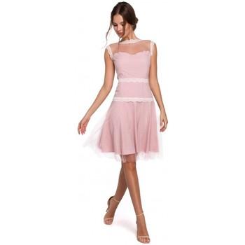 Oblečenie Ženy Šaty Makover K030 Tylové šaty s bodkami - púdrové