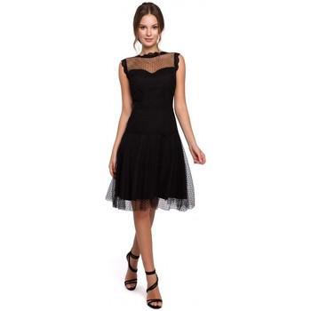 Oblečenie Ženy Krátke šaty Makover K030 Tylové šaty s bodkami - čierne