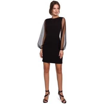 Oblečenie Ženy Krátke šaty Makover K032 Mini šaty s rukávmi z tylu - čierne