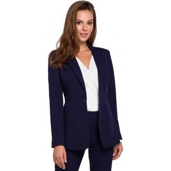 Oblečenie Ženy Oblekové saká Makover K036 Sako s jedným zadočkom - tmavomodré