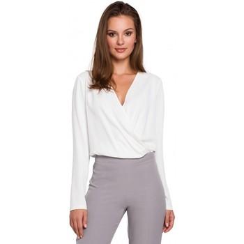 Oblečenie Ženy Blúzky Makover K037 Blúzka so zavinovacou prednou časťou - ecru