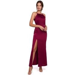 Oblečenie Ženy Dlhé šaty Makover K042 Maxi šaty s viazaným výstrihom - tmavomodré