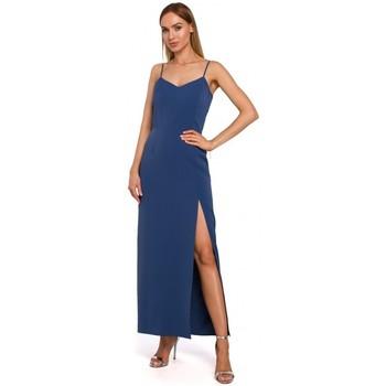 Oblečenie Ženy Dlhé šaty Moe M485 Maxi večerné šaty s vysokým rozparkom - modré