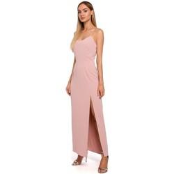 Oblečenie Ženy Šaty Moe M485 Maxi večerné šaty s vysokým rozparkom - púdrové