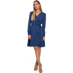Oblečenie Ženy Krátke šaty Moe M487 Zavinovacie šaty s naberanými rukávmi - modré