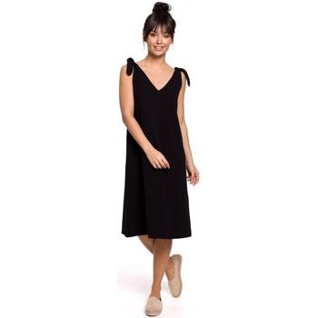Oblečenie Ženy Krátke šaty Be B148 Trapézové šaty s viazankou - čierne