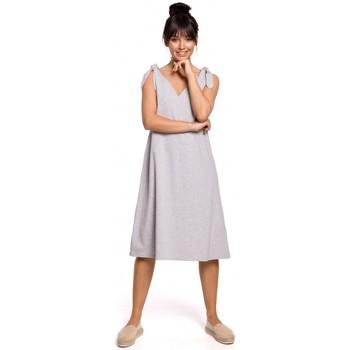 Oblečenie Ženy Krátke šaty Be B148 Trapézové šaty s viazaním - sivé