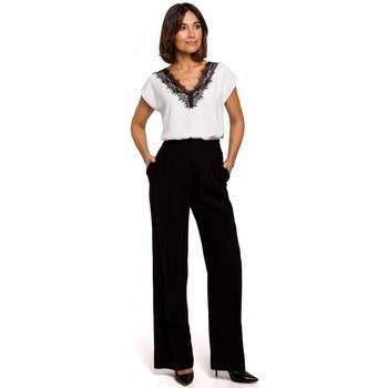 Oblečenie Ženy Nohavice Chinos a Carrot Style S203 Palazzo nohavice s elastickým pásom - čierne