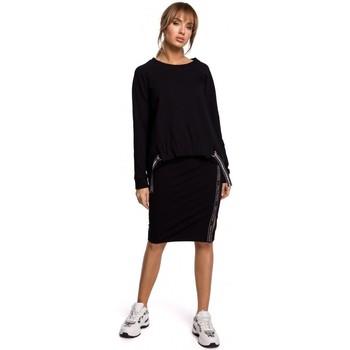 Oblečenie Ženy Blúzky Moe M492 Pulóver s vysokým pásom a logom - čierny