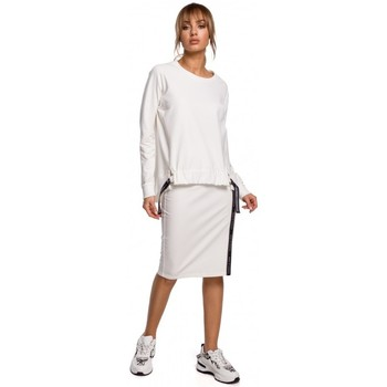 Oblečenie Ženy Blúzky Moe M492 Pulóver s vysokým pásom a logom - ecru