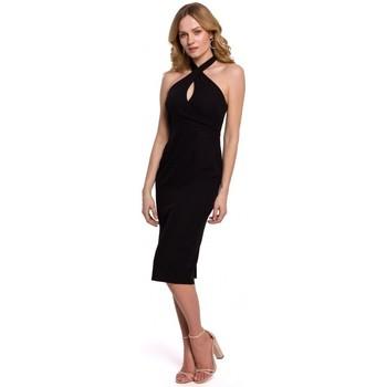 Oblečenie Ženy Šaty Makover K043 Šaty s viazaným výstrihom - čierne