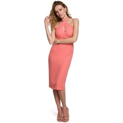 Oblečenie Ženy Krátke šaty Makover K043 Šaty s viazaným výstrihom - oranžové