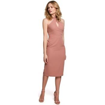 Oblečenie Ženy Krátke šaty Makover K043 Šaty s viazaným výstrihom - ružové