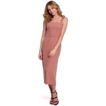Oblečenie Ženy Šaty Makover K046 Midi šaty so zaväzovacími ramienkami - ružové