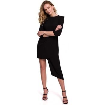 Oblečenie Ženy Krátke šaty Makover K047 Asymetrické plášťové šaty - čierne