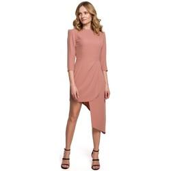 Oblečenie Ženy Krátke šaty Makover K047 Asymetrické plášťové šaty - ružové