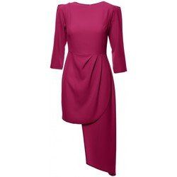 Oblečenie Ženy Šaty Makover K047 Asymetrické plášťové šaty - slivka
