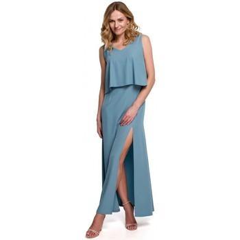 Oblečenie Ženy Šaty Makover K048 Maxi šaty s volánom - nebesky modré