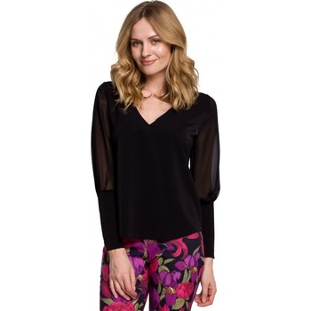Oblečenie Ženy Blúzky Makover K066 Šifonová blúzka - čierna
