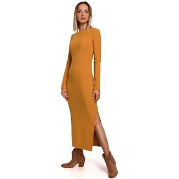 Oblečenie Ženy Dlhé šaty Moe M544 Maxi šaty s rozdelenou nohou - tmavožlté